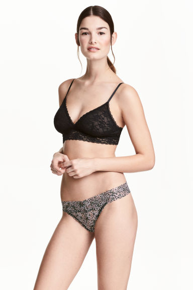 Thong 3件入內褲 - Black/Small floral - Ladies | H&M