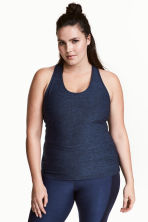 H&M+ Sports vest top - Dark blue marl - Ladies | H&M 1