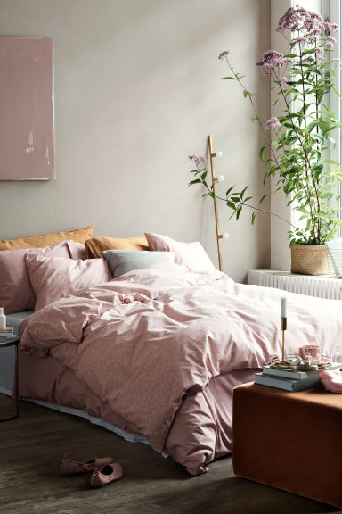 Patterned duvet cover set - Dusky pink - Home All | H&M CN 1