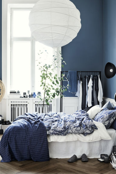 Bedspread with stitching - Dark blue - Home All | H&M CN 1