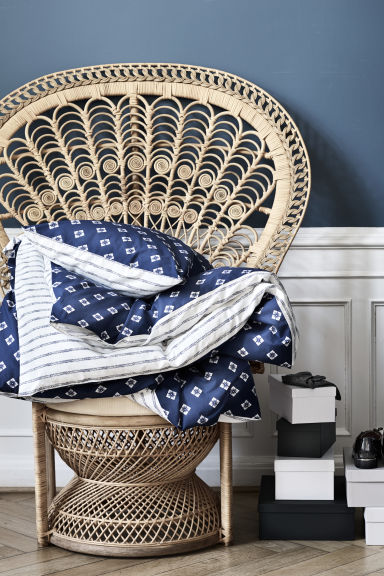 Patterned duvet cover set - White/Dark blue - Home All | H&M CN 1