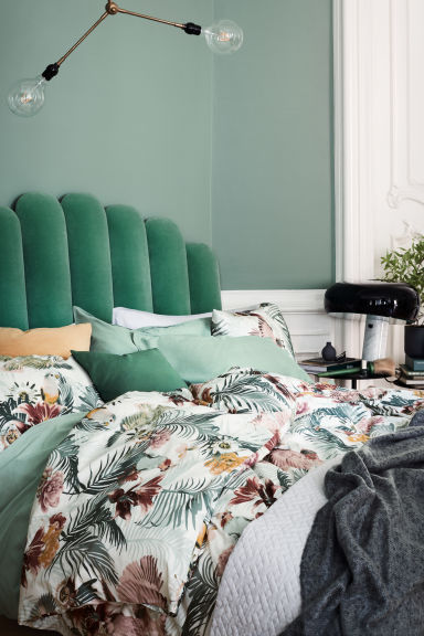 Floral-print duvet cover set - White/Birds - Home All | H&M CN 1