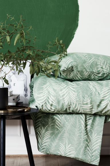 Leaf-patterned duvet cover set - Dusky green - Home All | H&M CN 1
