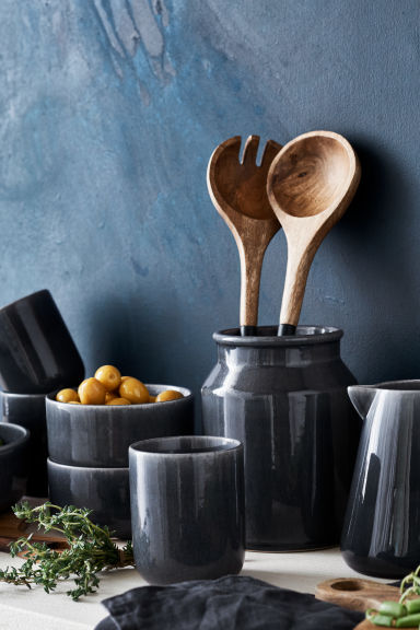 Stoneware vase - Dark grey - Home All | H&M CN 1