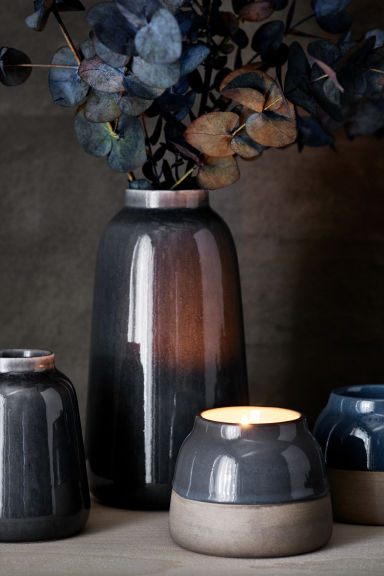 Candela in vasetto di ceramica - Blu scuro - HOME | H&M IT 1