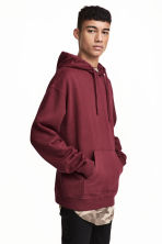 Washed hooded top - Burgundy - Men | H&M CN 1