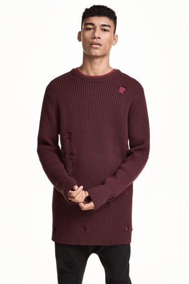 Rib-knit jumper - Burgundy - Men | H&M 1