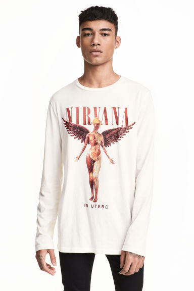 Long-sleeved T-shirt - Natural white/Nirvana - Men | H&M CN 1