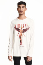 Long-sleeved T-shirt - Natural white/Nirvana - Men | H&M 1