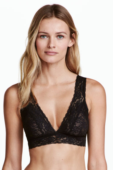Non-wired lace bra - Black - Ladies | H&M CN 1