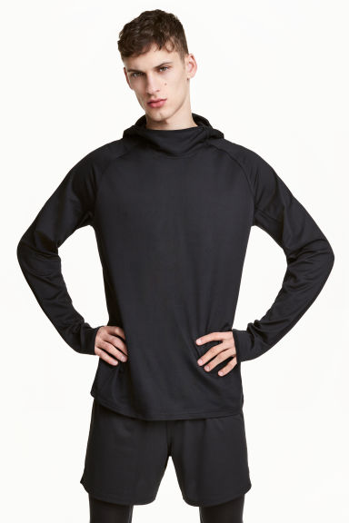 Hooded sports top - Black - Men | H&M CN