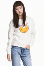 Printed sweatshirt - White - Ladies | H&M CN 1