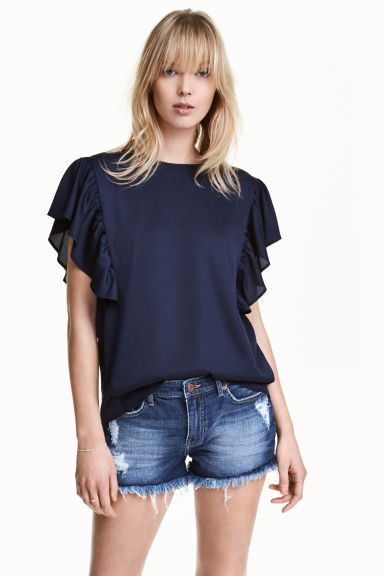 Top satin con maniche a volant - Blu scuro - DONNA | H&M IT 1