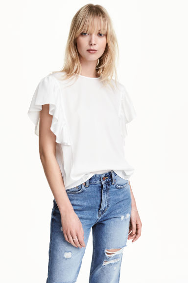 Satin top with frilled sleeves - White - Ladies | H&M CN 1
