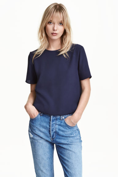 Top in tessuto increspato - Blu scuro - DONNA | H&M IT 1