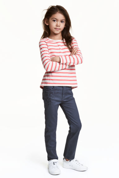 Twill trousers with embroidery - Blue-grey - Kids | H&M CN
