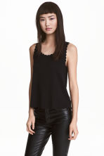 Vest top with scalloped edges - Black - Ladies | H&M CA 2
