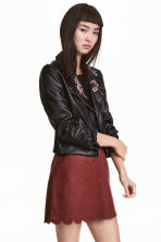 Embroidered biker jacket - Black - Ladies | H&M GB 1
