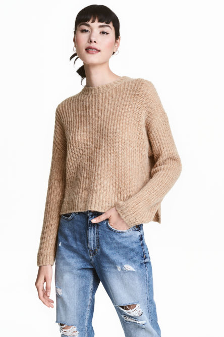 Chunky-knit wool-blend jumper