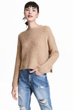 Chunky-knit wool-blend jumper - Beige marl - Ladies | H&M CN 1