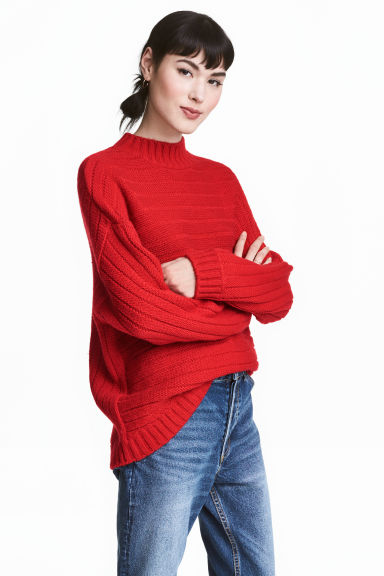 Knitted jumper - Red - Ladies | H&M CN 1