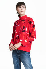 Turtleneck sweatshirt - Red/Patterned - Ladies | H&M CN 1