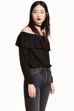 Short off-the-shoulder blouse - Black - Ladies | H&M 1