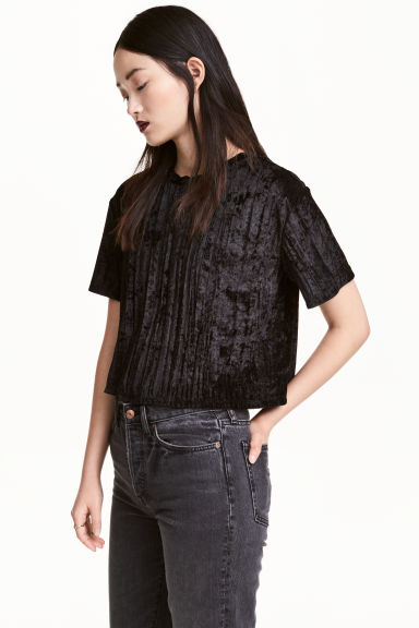 Crushed velvet top - Black - Ladies | H&M 1