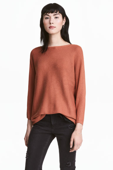 Rib-knit jumper - Rust - Ladies | H&M 1