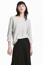 Rib-knit jumper - Light grey marl - Ladies | H&M GB 1