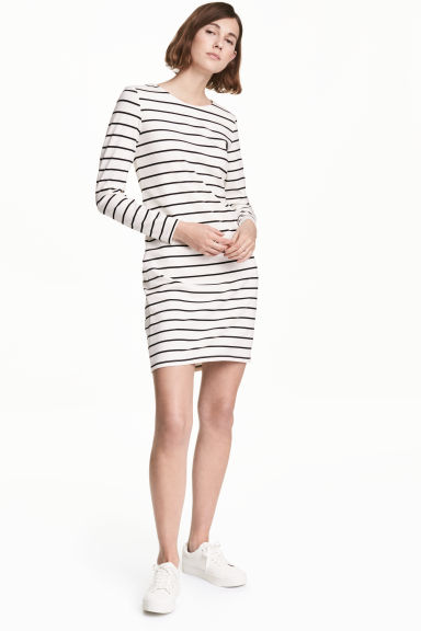Robe en jersey - Blanc/noir/rayé - FEMME | H&M FR