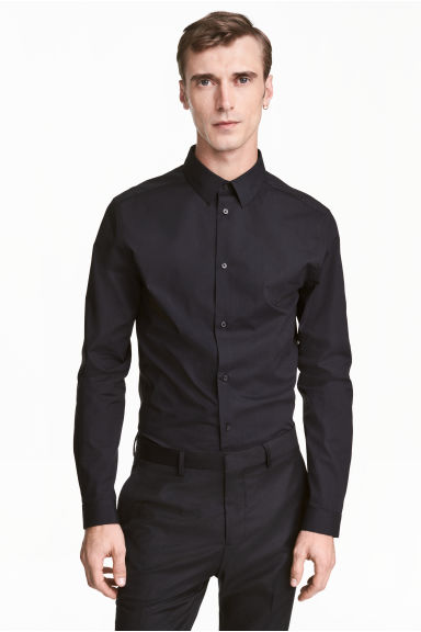Stretchoverhemd - Slim fit - Zwart - HEREN | H&M NL 1