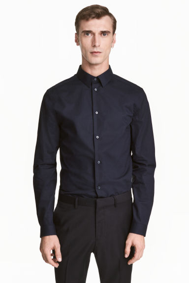 Premium cotton shirt - Dark blue - Men | H&M CN 1