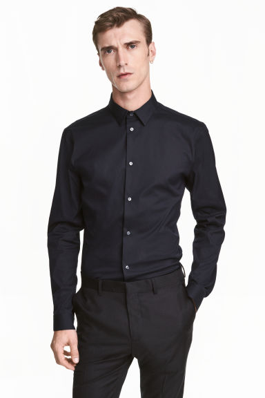 Camicia elasticizzata Slim fit - Nero -  | H&M IT 1