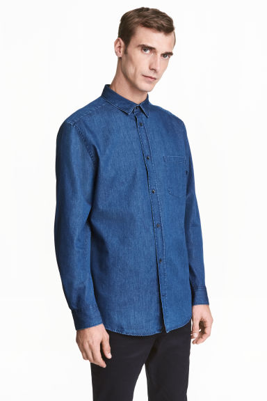 Premium cotton denim shirt - Denim blue - Men | H&M CN 1