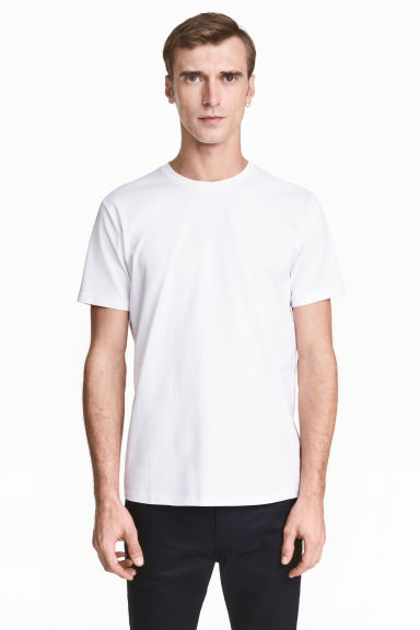 Premium cotton T-shirt - White - Men | H&M 1