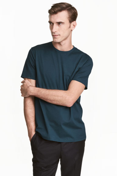 Premium cotton T-shirt - Dark petrol - Men | H&M CN 1