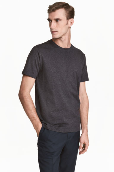 Premium cotton T-shirt - Dark grey marl - Men | H&M 1