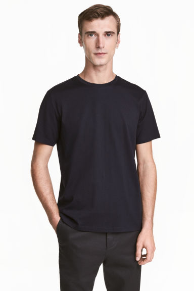 Premium cotton T-shirt - Dark blue - Men | H&M 1