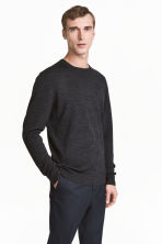 Merino wool jumper - Dark grey marl - Men | H&M 1