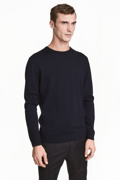 Pullover in lana merinos - Blu scuro - UOMO | H&M IT 1