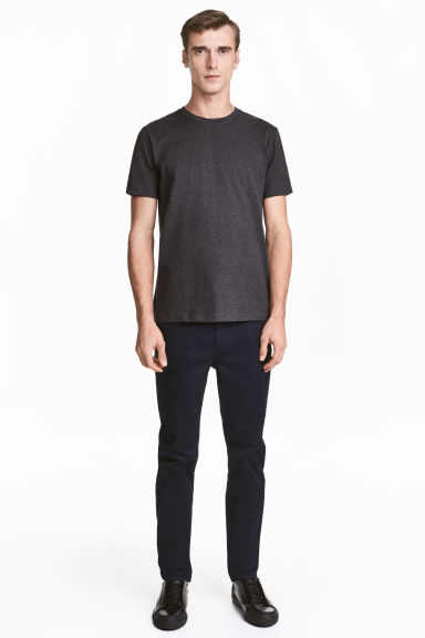 Premium cotton twill trousers - Dark blue - Men | H&M 1