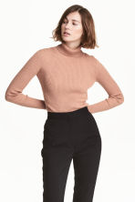 Ribbed polo-neck jumper - Beige/Glitter -  | H&M 1