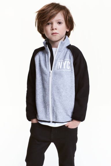 Fleece jacket with print motif - Grey marl/New York -  | H&M CN 1