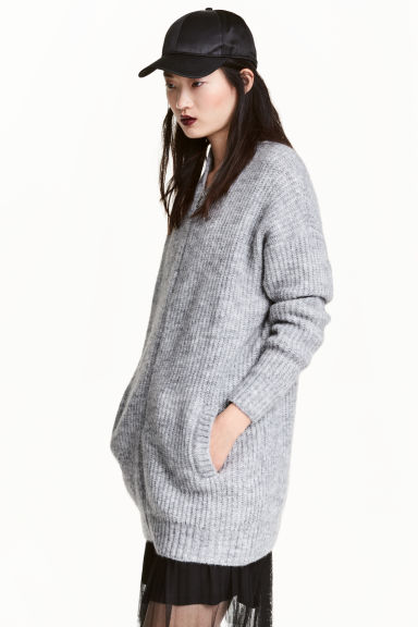 Rib-knit cardigan - Grey - Ladies | H&M 1