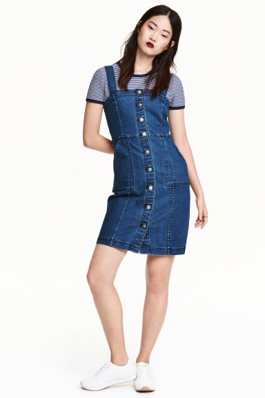 丹寧吊帶裙 - Denim blue - Ladies | H&M
