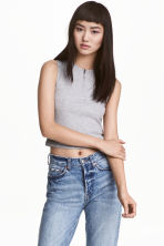 Cropped top with a zip - Grey marl - Ladies | H&M 1