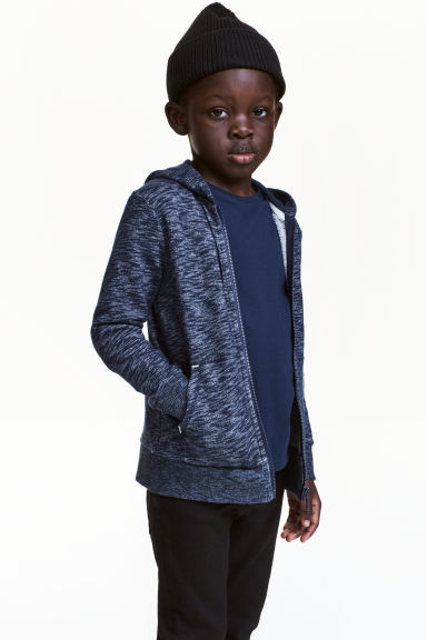 Hooded jacket - Dark blue marl - Kids | H&M 1