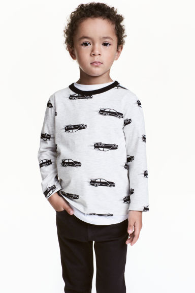 Jersey top - Light grey/Cars - Kids | H&M CN 1