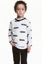 Long-sleeved T-shirt - Light grey/Cars - Kids | H&M 1